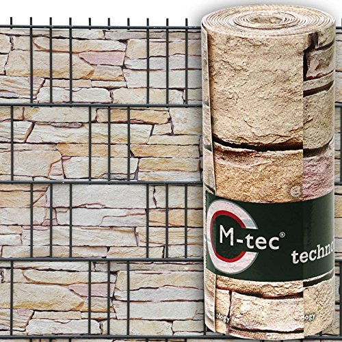 Sichtschutzstreifen mit Motiv/M-tec Print® / PVC/Hellen Sandstein Tessin ✔ für 3 Reihen im Zaunfeld ✔ für Gttermattenzaun ✔ inkl. 6 Klemmschienen ✔ - SIE KAUFEN Hier DIREKT BEIM Hersteller -