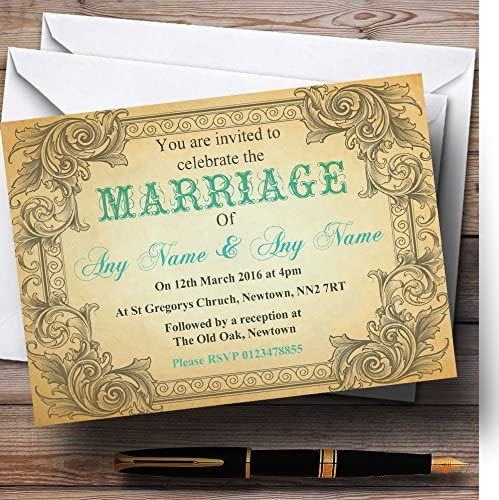 Typography Vintage Turquoise Max 53% OFF Postcard Personalized Special price for a limited time Evening Recep