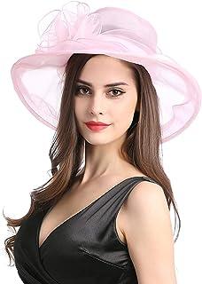 Sombrero de Sol para Mujer Organza Floral Plegable Plano