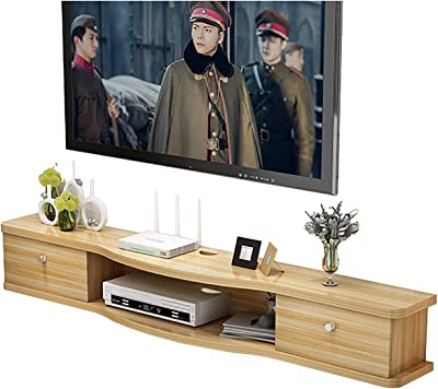TV Cabinet, TV Lowboard, Floating Shelves, Floating TV Stand Component Shelf, Upgrade New Easy to Install, for Set Top Box, PS or Xbox, Wall Mounted TV Media Console. (Size : 120cm)