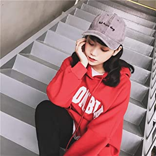 Lei Zhang Cap hat Female Korean Retro do The Old Letter Embroidery Washed Denim Baseball Cap Male hat Tide (Color : Grey, Size : Adjustable)