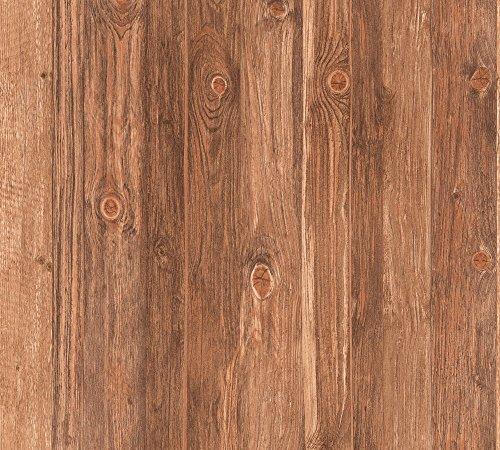 "A.S. Creation 908629 - Carta da parati\""Wood n Stone\"" in simil legno, colore: Beige/Marrone"