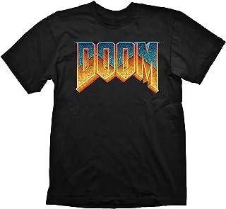 Doom – Maglietta da uomo da gaming Premium – Classic Logo (nero) (S-XL)