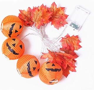 Jnvny 10/20 LED Pumpkin Maples Leaf Garland String Lights Halloween 3D Pumpkin Lights for Halloween
