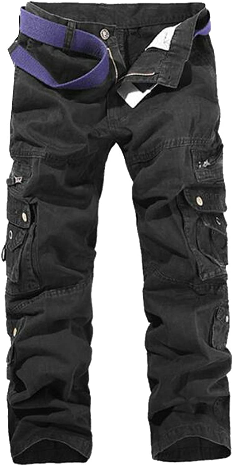 00a14bcbbc8c7 Papijam Mens Relaxed Straight Leg Cotton Outdoor Mid Waist Cargo Cargo  Cargo Pant 873892