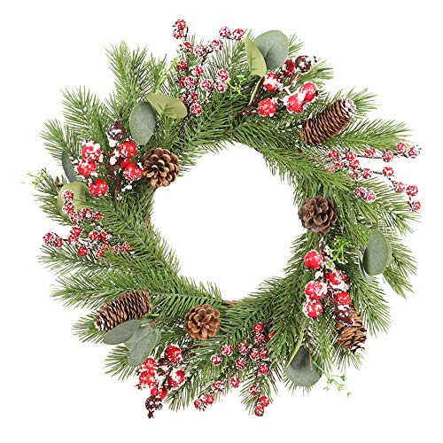 Christmas Large Wreath Door Wall Hanging Ornaments for Christmas Xmas Party Decor Front Door Door Wall Garland Ornament Flower Circle Wreath