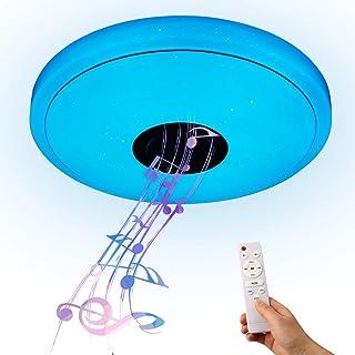 Lámpara de Techo con Altavoz Bluetooth, YOMERA 36W Plafón LED Techo con RGB y Blanco hasta blanco cálido/Control por Aplicación/3000-6500K, Música Plafones para Dormitorio Sala Cocina Comedor
