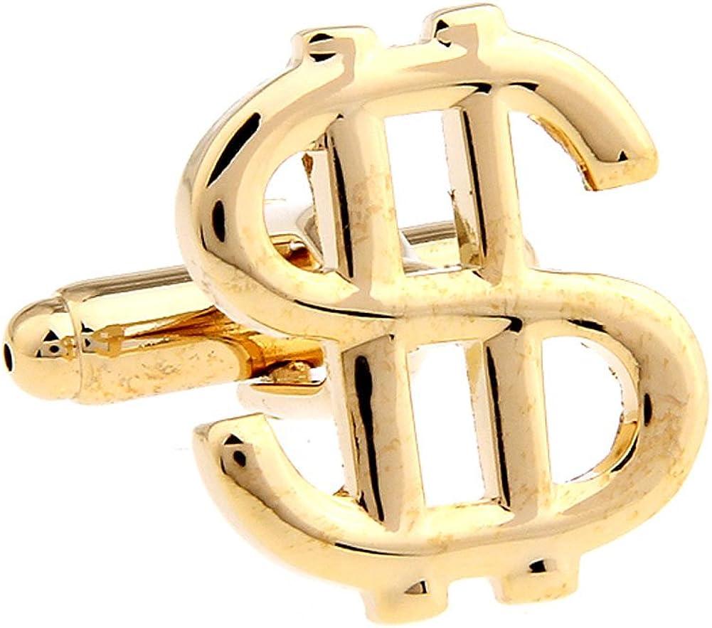 Mens Executive Cufflinks Financial Career Collection Gold Tone Dollar Sign Money Symbol Cuff Links