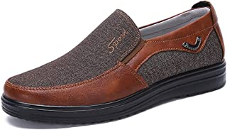 COSIDRAM Men's Slip-On Loafer Casual Driving Shoes Breathable Canvas Comfortable Lightweight Great Travel Walking Shoes for Adult Male Black Grey Brown Plus Size