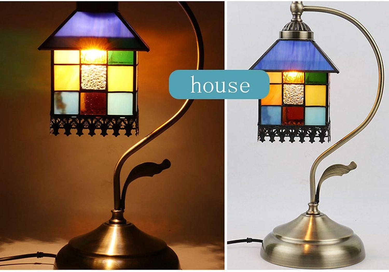WZJ-TISCHLEUCHTE Amerikanische Mittelmeerschlafzimmer-Schmiedeeisen-Tischlampe-Wohnzimmer-warme dekorative Glastischlampe (Farbe   A)