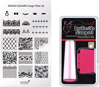 Konad Square Stamping Nail Art Image Plate w/Double Side Stamp Set (M26)