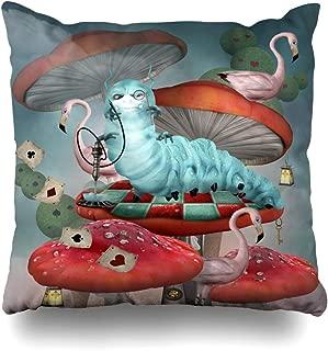 Ahawoso Decorative Throw Pillow Cover Media Alice Wonderland Caterpillar Smokes Hookah On Fairytale Mushrooms Clock Design Home Decor Pillowcase Square Size 18