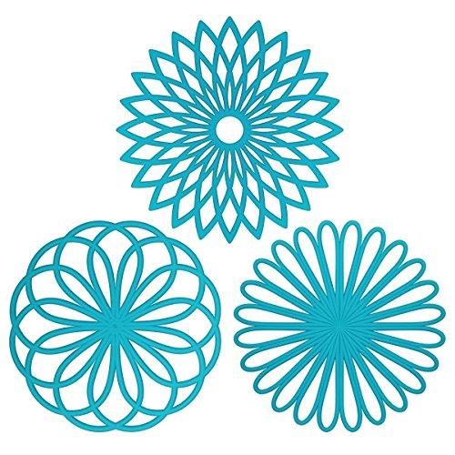 Mantel multiusos, protector para mesa con forma de flor, material de silicona (paquete de 3), de la mejor calidad, aislable, flexible, durable, antideslizante, resistente almohadilla para cosas calientes y cubre vasos