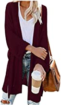 E-Scenery Women's Knitted Cardigan Loose Solid Open Long Sleeve Casual Outerwear Sweater with Pockets