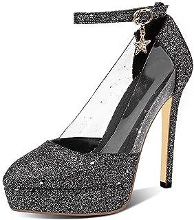 Sequins Pointed Platform High Heels For Banquet Wedding Dress Daily (Color : Black, Size : 35)