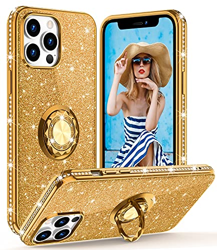 OCYCLONE Glitter Case Compatible with iPhone 13 Pro Max Case 6.7 inch, Bling Diamond Soft Cover with Ring Stand Cute Phone Case for Women Girls Compatible with iPhone 13 Pro Max 2021 - Deep Gold