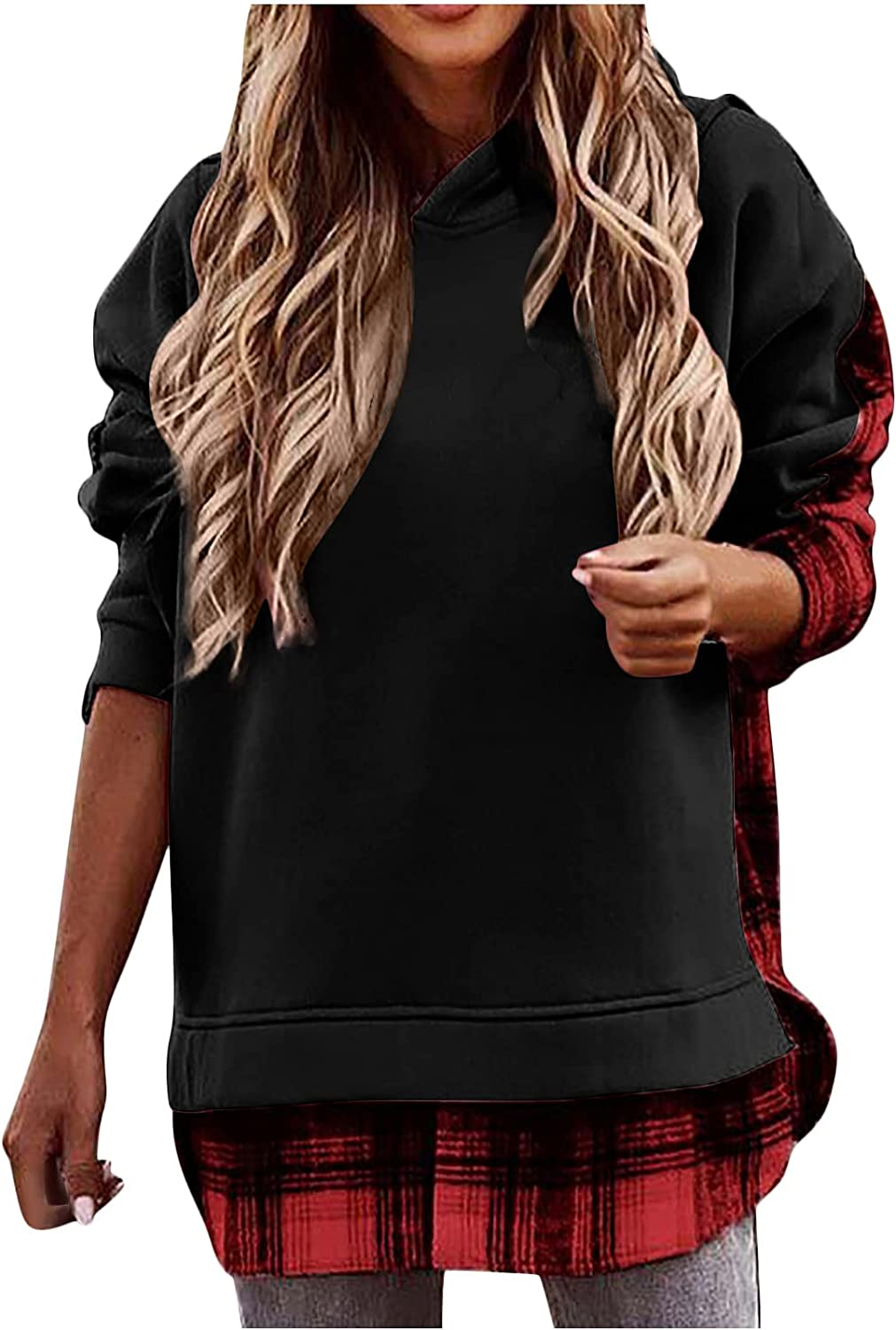 Kanzd Hoodies Manufacturer regenerated product Sweatshirts 55% OFF for Women Plaid Sleeve Fall Long Patch