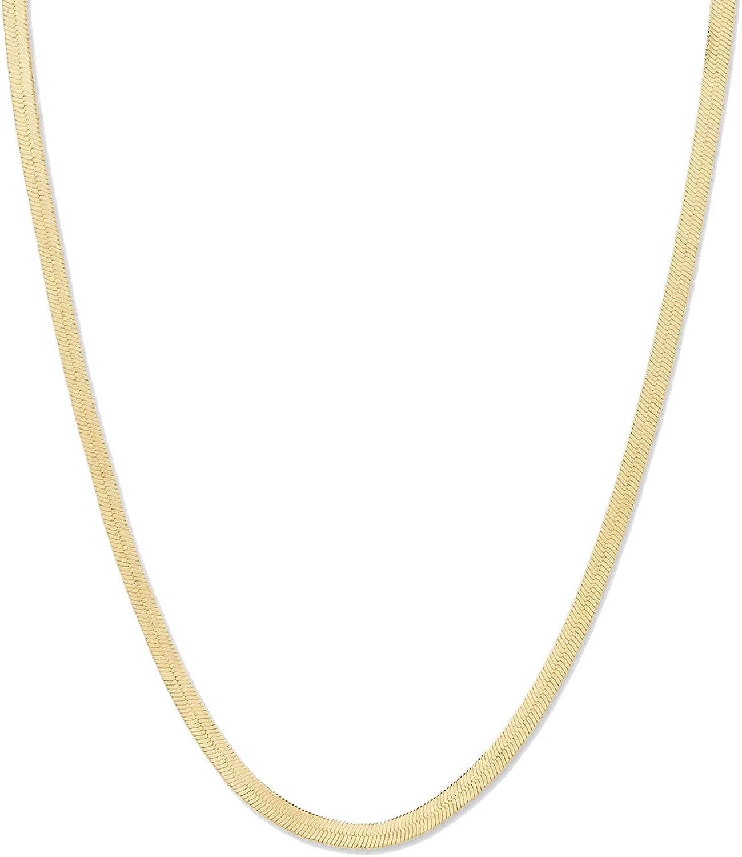 gorjana Women's Venice Necklace, Flat 5mm Snake Chain Choker, 18K Gold Plated