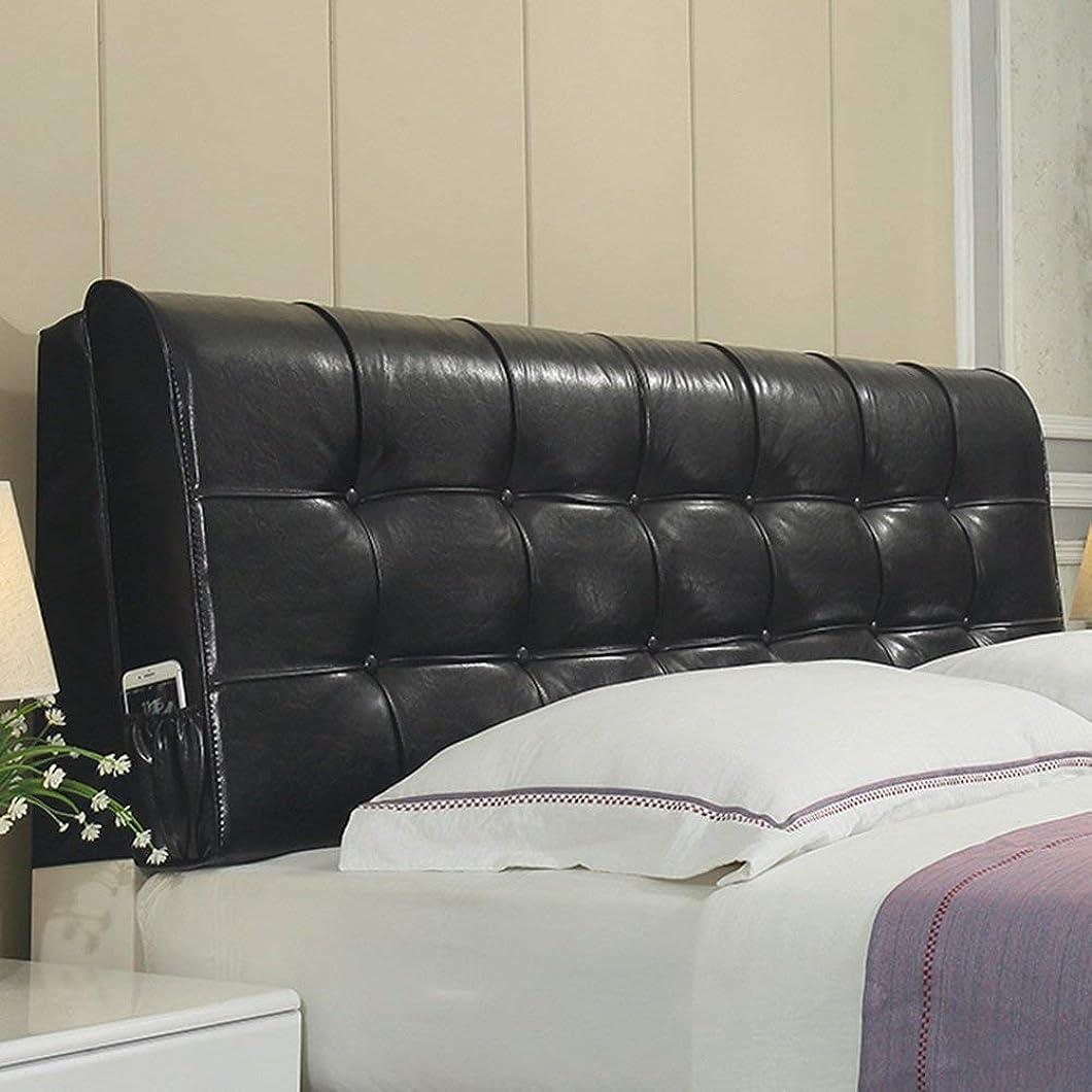 ドライフェリー提供JIANHEADS ヘッドボードベッドサイドクッションパッド大バック多機能枕変形なしWashableOptional (Color : Black-with Headboard, サイズ : 200cm)