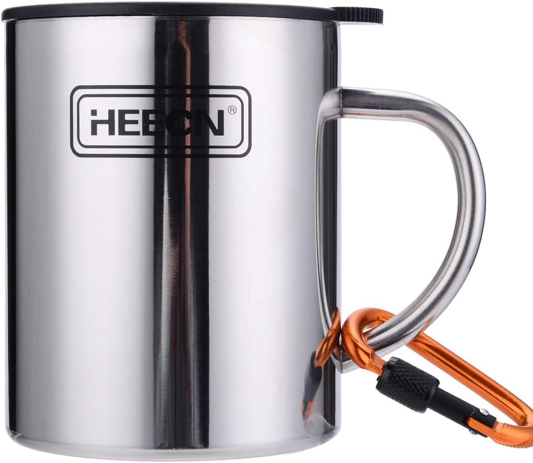 HEECN Camping Coffee Mug Rotating Opening large release sale 2021 model Lid with HESS038BBK450ml