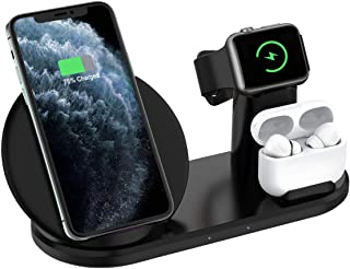 Wireless Charging Station, 3 in 1 Wireless Charger Dock Compatible with Apple Watch and Airpods, Qi Fast Charging Pad Compatible iPhone 11/11 Pro/11 Pro Max/Xs MAX/XR/XS/X/8/8P