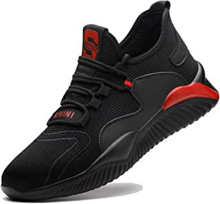Safety Shoes Men Women Steel Toe Cap Trainers Lightweight Work Sneakers Breathable Industrial Shoes Black Red 3-12.5UK