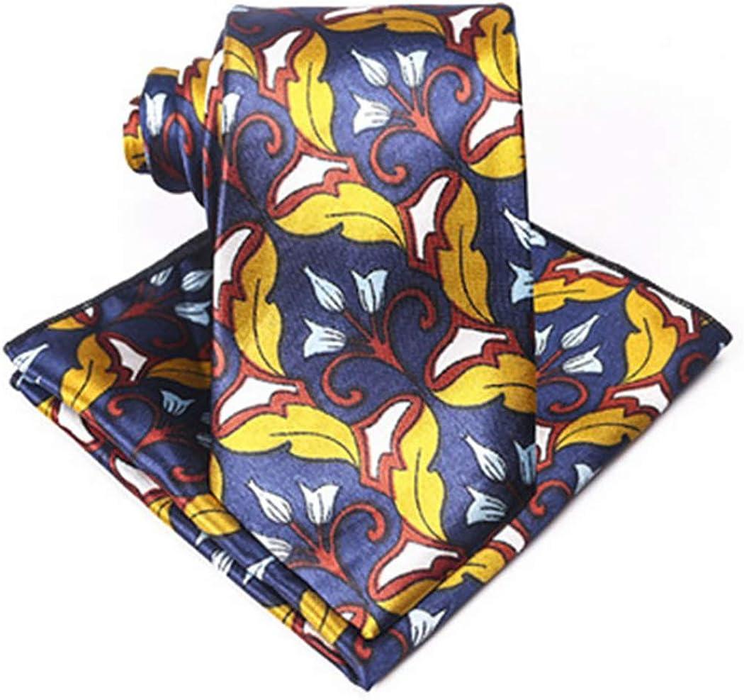 COSYOO Men Polyester Flower Tie Business Skinny Necktie Casual Neck Tie Business Necktie with Pocket Square