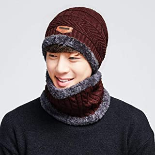 Knitted Hats for Women Knit Hat Men's Simple Autumn and Winter Windproof Warm Collar Collar Wooly Cap