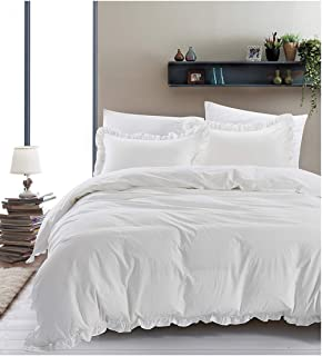 Mivedia Collection Ruffled Duvet Cover Set with Pillow Shams | 100% Cotton Farmhouse & Bohemian Style Bedding | Lightweight & Soft (King, White)