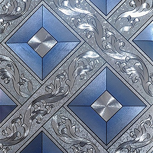 QIHANG Luxury Silver Foil Mosaic Square Lattice Background Flicker Wallpaper Gold Leaf Wallpaper Modern Roll/hotel Ceiling/decorative Wallpaper Roll Silver&Blue Color 1.73' W x 32.8' L=57 sq.ft