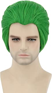 Topcosplay Mens Joker Wig Short Green Cosplay Wig Halloween Costume Funny Wig