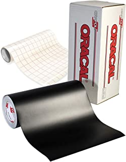 ORACAL 651 Matte Black Craft Self-Adhesive Vinyl Including Roll of Clear Transfer Paper (15 Feet x 12 Inches)