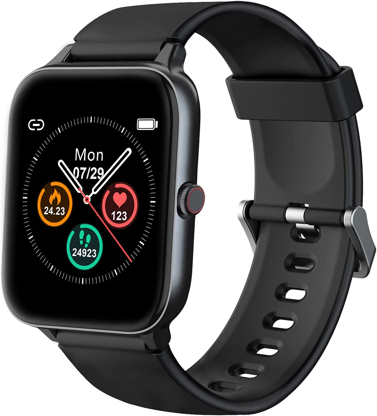 """IOWODO Smart Watch for Android Phones and iOS Phones Fitness Tracker- 1.55"""" Touch Screen Sport Watch IP68 Swimming Waterproof Smartwatch Heart Rate Monitor Smart Watches for Men Women Black"""