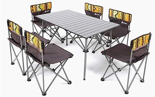 SJ&Q Table et chaises Pliantes de Loisirs en Plein air, Table Pliante de 7 pièces avec Table de Pique-Nique et chaises Pliantes