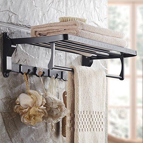 MBYW moderne minimalistische hoge dragende handdoek rek badkamer handdoekenrek Europese ruimte aluminium handdoek rek badkamer rek zwart opvouwbare handdoek rek hardware badkamer hanger set, 60cm