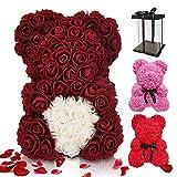ASANMU Oso de Rosas, Oso de Peluche Rosa Regalo de Oso Rosa Creativo con Caja Oso de Flores Artificiales Oso Rosa Regalos para San Valentín/Cumpleaños/Aniversario Regalo para Madres/Mujer(Rojo Oscuro)