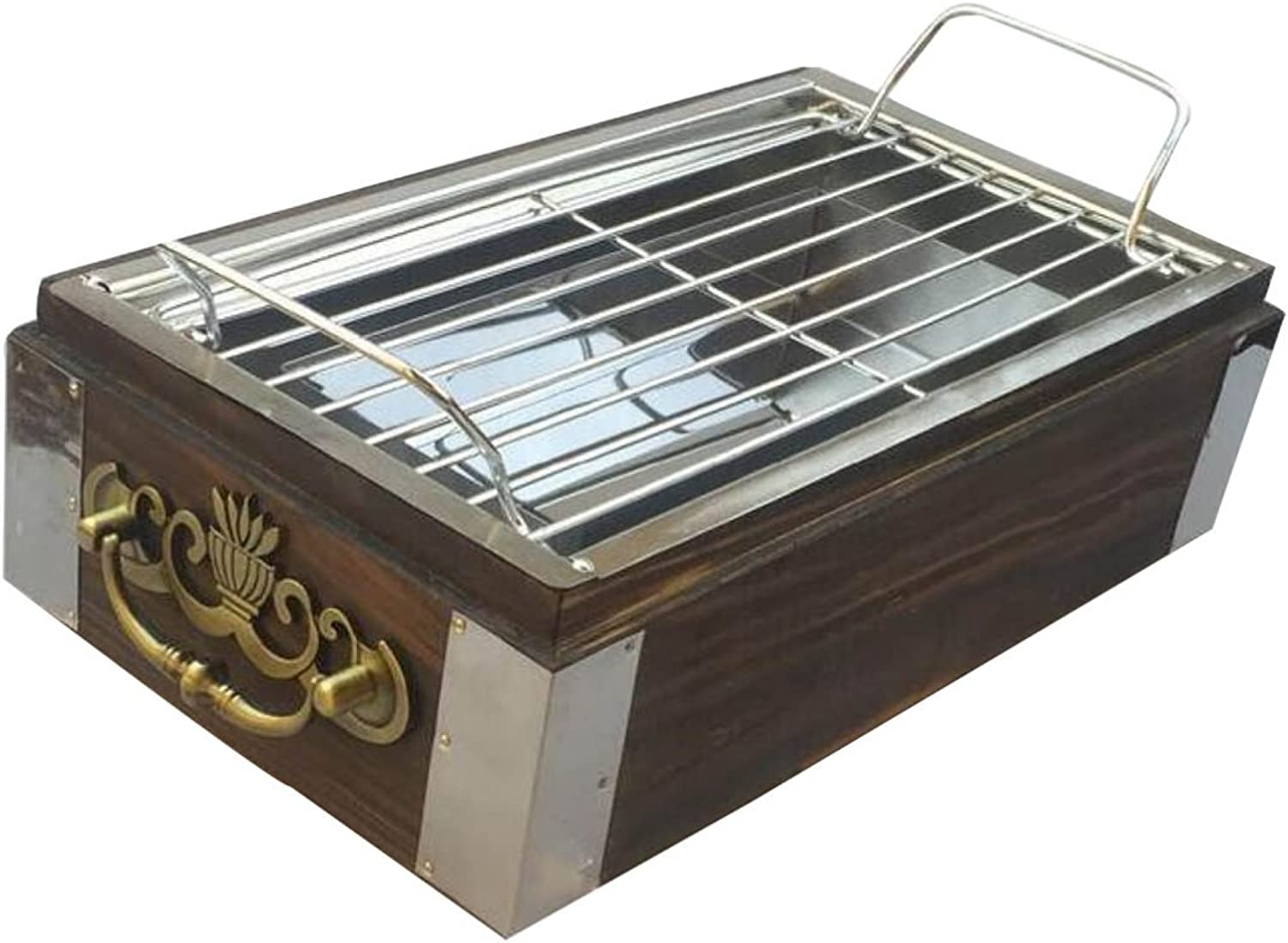 HAOYUXIANG Retro Hlzernes Helles Bewegliches Bequemes Drauen Paar-Familien-Party-Grill-Gruben,Grill