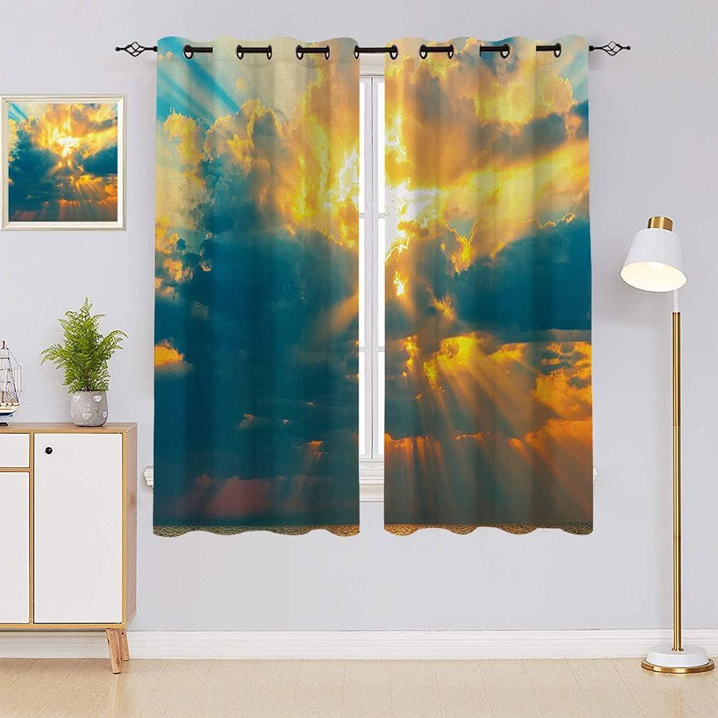 Apartment Popular overseas specialty shop Decor Blackout Curtains Golden Breaki The Sun of Rays