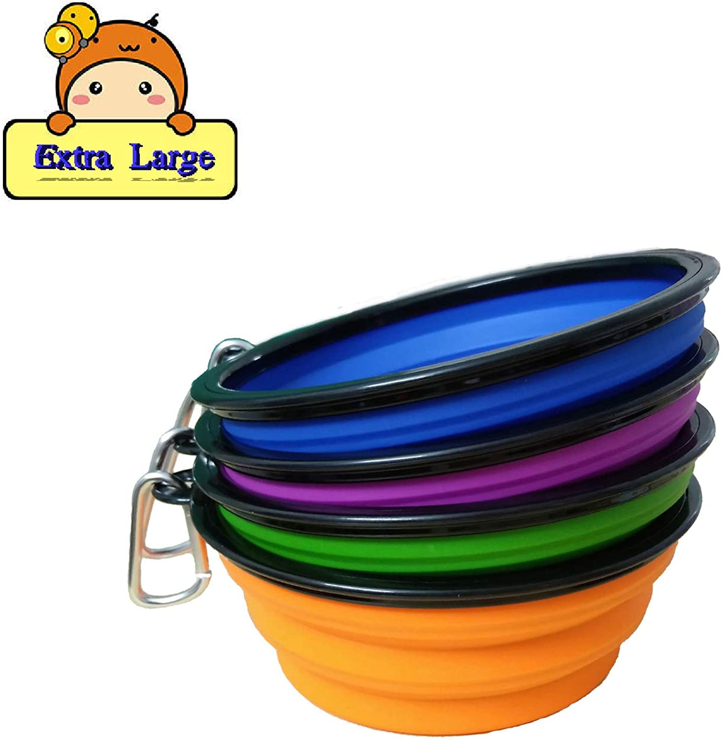 4 x Collapsible Pet Bowls 7  Diameter Silicone Folding Bowls for Cats Dogs with Carabiner Belt Clip (bluee Purple Green orange)