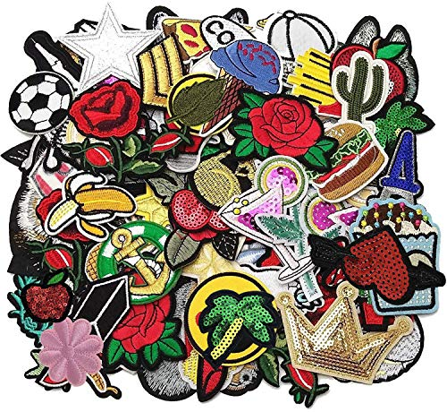 Libiline 50pcs Random Assorted Styles Embroidered Patch Sew On/Iron On Patch Applique Clothes Dress Plant Hat Jeans Sewing Flowers Applique DIY Accessory (Assorted-Style 5)