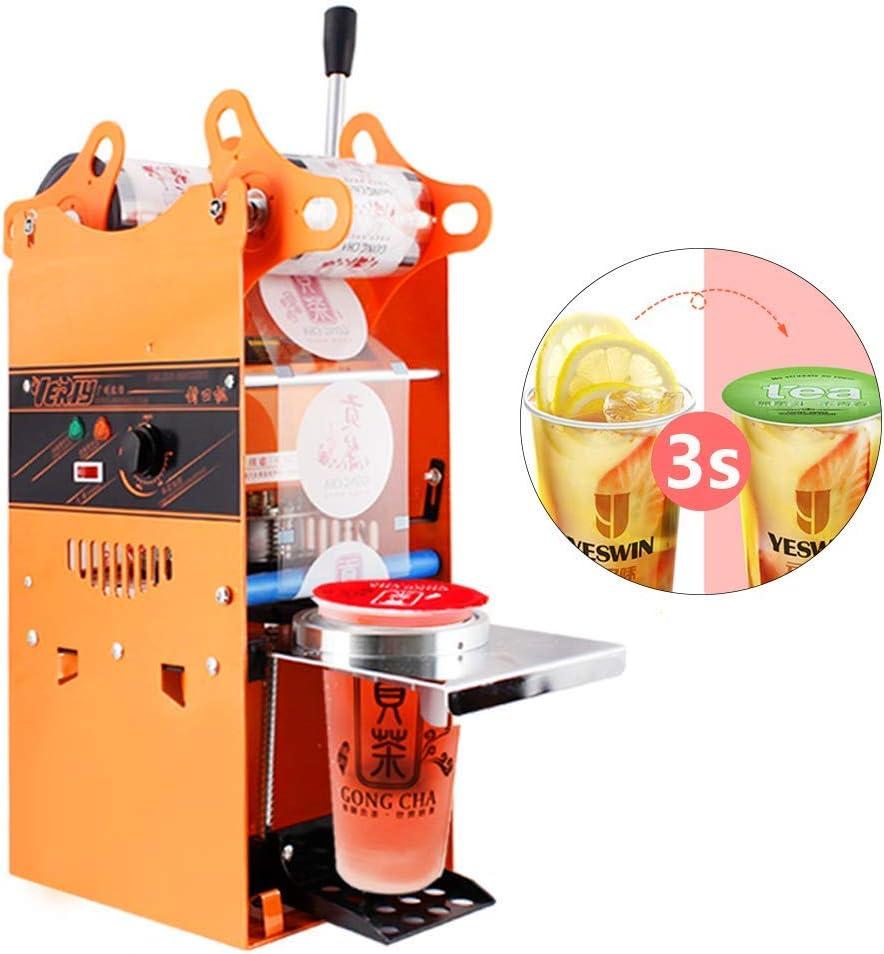YJINGRUI Máquina Selladora de Vasos de Plástico y Papel Manual Selladora de Copas Comercial Adecuada para 90/95/70/75 mm de Diámetro 0-180mm de Altura 300-500 Vasos/Hora (Maquina de sellado)