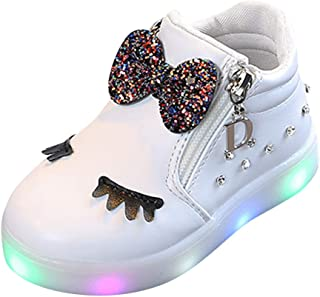 WARMSHOP LED Light Up Shoes Girls Boys 1-6T Flashing Eyelash Crystal Bowknot with Zipper Leather Boots Sneakers