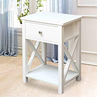 Mu Household End Tables Night Stand X-Design Side Storage Shelf with 1 Drawer and Shelf