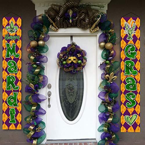 CROWNED BEAUTY Mardi Gras segno portico porta anteriore appeso striscione per cortile rustico grasso martedì tema festa decorazione CS008-12