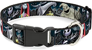 Buckle-Down Plastic Clip Collar - Nightmare Before Christmas 4-Character Group/Cemetery Scene - 1.5