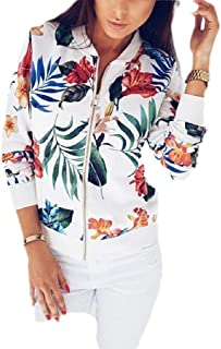 Macondoo Women's Long Sleeve Floral Zip Up Print Coat Baseball Jacket