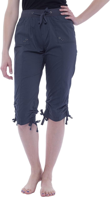 Alki'i Women's Elastic Waist Drawstring Capri with Pockets 2134