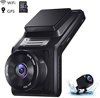 AKASO Dual Dash Cam Front and Rear 1080P Car Camera (2K Single Front) with 32 GB TF Card, 2 IPS Screen, 170°Wide Angle, External GPS, Wi-Fi, Loop Recording, Night Vision, Parking Mode, G-Sensor