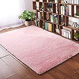 Softlife Fluffy Bedroom Area Rugs 4 x 5.3 Feet Shaggy Nursery Rug for Girls Baby Kids Dorm Room Modern Home Decorative Plush Indoor Floor Carpet, Pink