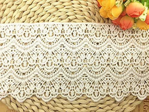 14CM Width Europe Long Pattern Inelastic Embroidery Lace Trim,Curtain Tablecloth Slipcover Bridal DIY Clothing/Accessories.(4 Yards in one Package) (White)